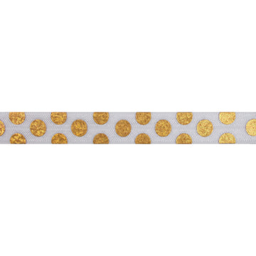 "Gold Hologram Polka Dots - 5/8"" Metallic Printed Fold Over Elastic"