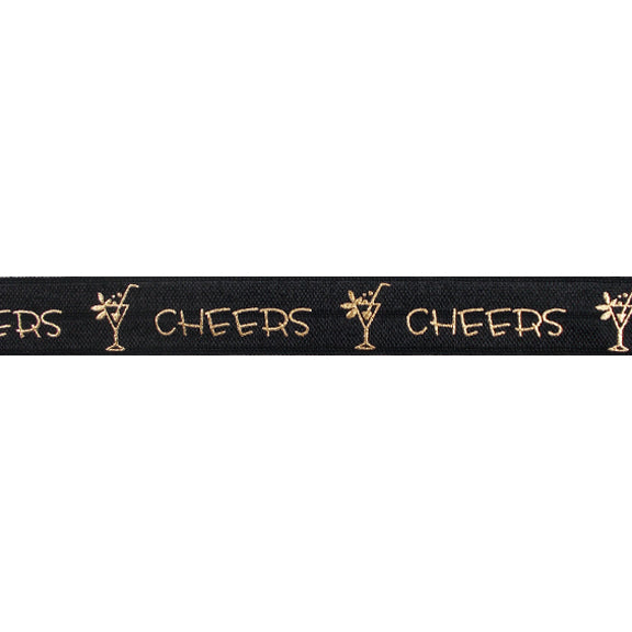 "Black & Gold Cheers - 5/8"" Metallic Printed Fold Over Elastic"