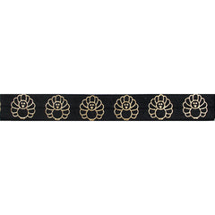 "Black & Gold Turkey - 5/8"" Metallic Printed Fold Over Elastic"