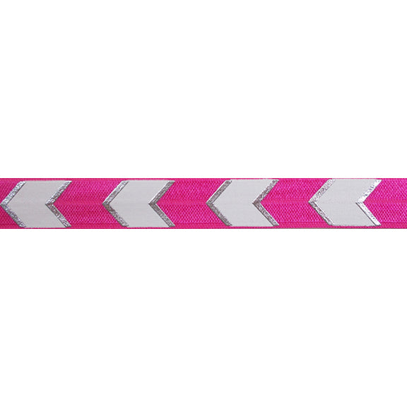 "Hot Pink & Silver Arrow Chevron - 5/8"" Metallic Printed Fold Over Elastic"
