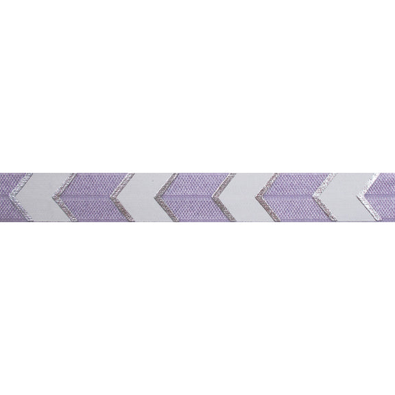 "Lavender & Silver Arrow Chevron - 5/8"" Metallic Printed Fold Over Elastic"
