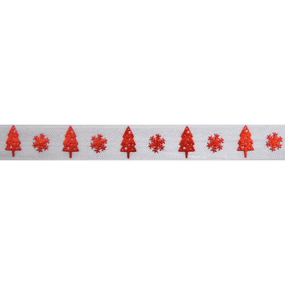 "Red Snowflakes & Christmas Trees - 5/8"" Metallic Printed Fold Over Elastic"