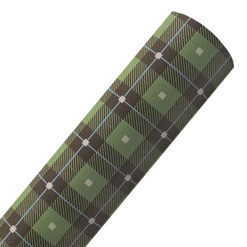 Brown Wallace Tartan - Custom Printed Smooth Faux Leather Sheet