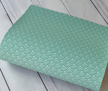 Large Green Waves - Custom Printed Smooth Faux Leather Sheet