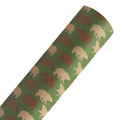 Bear on Green - Custom Printed Smooth Faux Leather Sheet