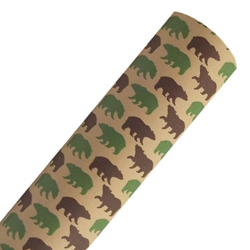 Bear on Cream - Custom Printed Smooth Faux Leather Sheet