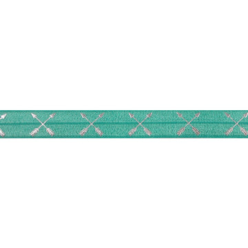 "Aquamarine & Silver Arrows - 5/8"" Metallic Printed Fold Over Elastic"