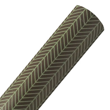Brown + Green Herringbone - Custom Printed Smooth Faux Leather Sheet