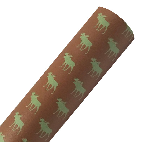 Moose on Brown - Custom Printed Smooth Faux Leather Sheet