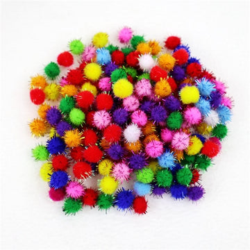 "Grab Bag - 3/4"" Pom Poms with Tinsel - 10 Balls"