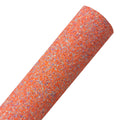 Bright Orange + Purple Splash - Chunky Glitter Fabric Sheet