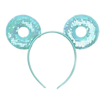 "Aquamarine Donut - 3.25"" Reversible Sequins Mouse Ears Headband"