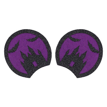 "Black & Purple Haunted House - 3.25"" Glitter + Felt Mouse Ears"