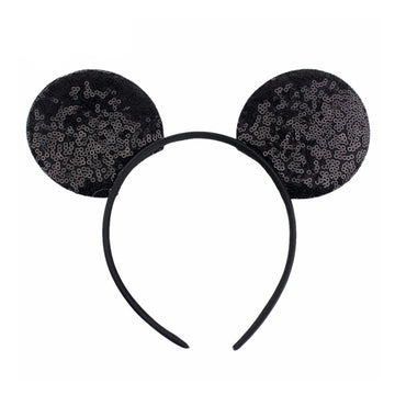 "Black -  3.25"" Sequins Mouse Ears Headband"