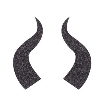 "Black Glitter Maleficent / Devil Horns - 4"" Felt Applique"