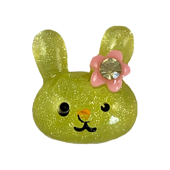 "Yellow Glitter Bunny - 1/2"" Flatback Resin Applique"