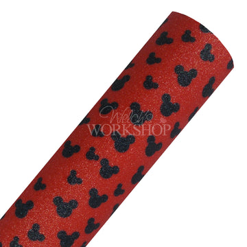Red + Black Mouse - Fine Glitter Canvas Fabric Sheet