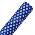 Royal Blue + White Stars - Chunky Glitter Canvas Fabric Sheet