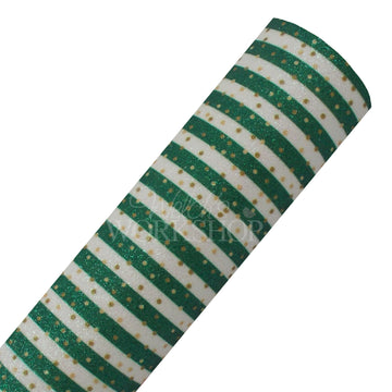 Green + Gold Polka Stripes - Fine Glitter Canvas Fabric Sheet