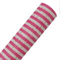 Pink + Gold Polka Stripes - Fine Glitter Canvas Fabric Sheet