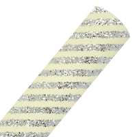 Silver Diagonal Stripes - Chunky Glitter Fabric Sheet