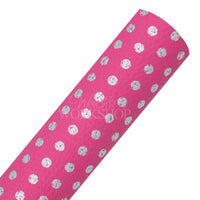Hot Pink & Silver Dot - Printed Faux Leather Sheet