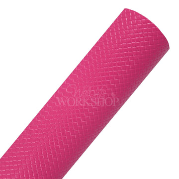 Fuchsia Pink - Basketweave Faux Leather Sheet