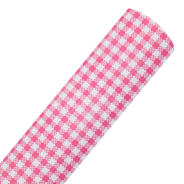 Pink Gingham - Printed Canvas Fabric Sheet