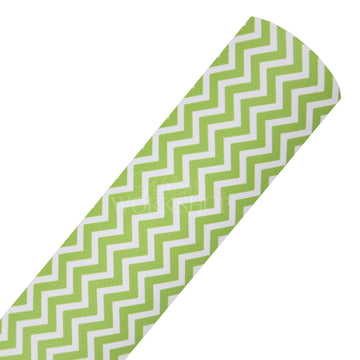 Lime Green Chevron - Printed Faux Leather Sheet