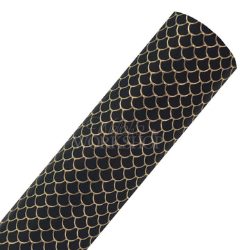 Black & Gold Mermaid Scales - Printed Faux Leather Sheet