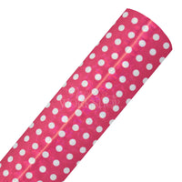 Hot Pink & White Holo Dots - Printed Faux Leather Sheet