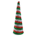 "Red, Silver, & Green Christmas Stripes - 5"" Padded Unicorn Horn"