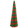 "Red & Green Christmas Stripes - 5"" Padded Unicorn Horn"
