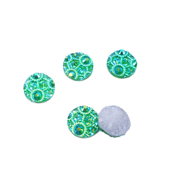 Peacock Tails - 12mm Bling Druzy Cabachon