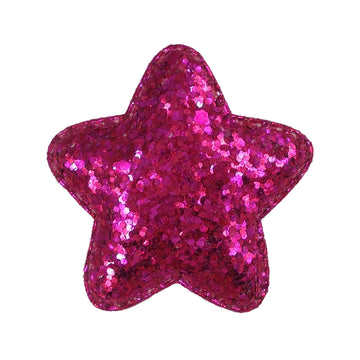 "Hot Pink Chunky Glitter Star - 2"" Padded Applique"