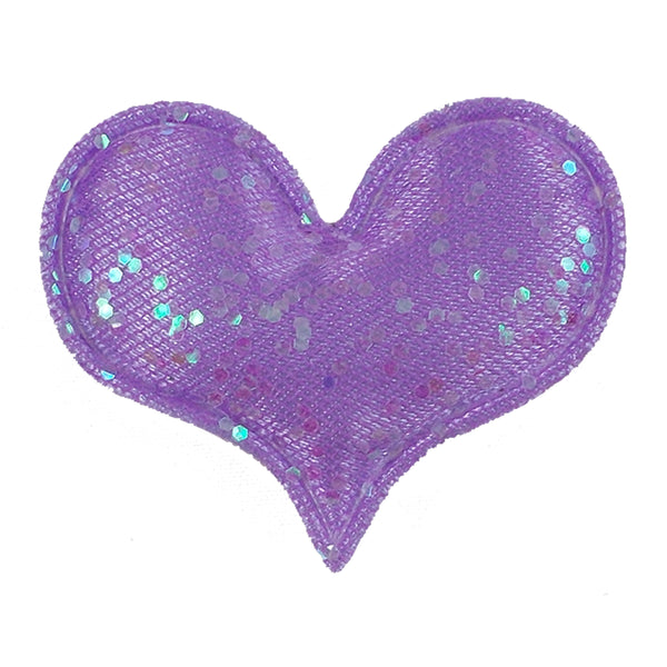 "Lavender Shimmer Heart - 1.75"" Padded Applique"
