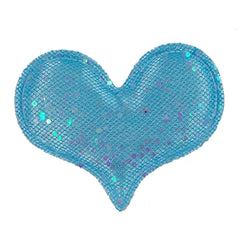 "Aqua Shimmer Heart - 1.75"" Padded Applique"