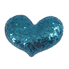 "Aqua Chunky Glitter Heart - 2"" Padded Applique"