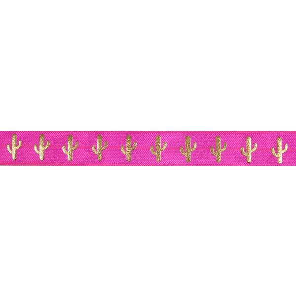 "Neon Pink & Gold Cactus - 5/8"" Metallic Printed Fold Over Elastic"