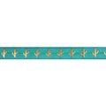 "Aquamarine & Gold Cactus - 5/8"" Metallic Printed Fold Over Elastic"