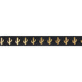 "Black & Gold Cactus - 5/8"" Metallic Printed Fold Over Elastic"