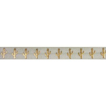 "Ivory & Gold Cactus - 5/8"" Metallic Printed Fold Over Elastic"