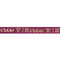 "Wineberry & Gold I Do Crew - 5/8"" Metallic Printed Fold Over Elastic"
