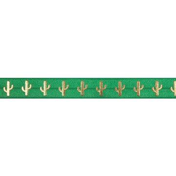 "Green & Gold Cactus - 5/8"" Metallic Printed Fold Over Elastic"