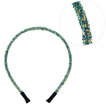 Dark Aqua Iridescent - 5mm Chunky Glitter Headband