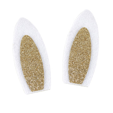 "White & Gold - 3.5"" Felt Bunny Ears"