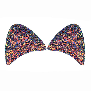 "Royal Blue Confetti - 2.5"" Chunky Glitter Padded Unicorn Ears"