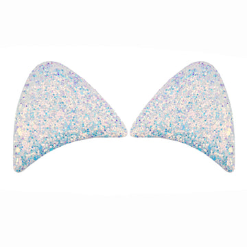 "White & Blue Iridescent - 2.5"" Chunky Glitter Padded Unicorn Ears"