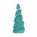 "Aquamarine Glitter & Felt Unicorn Horn - 3"" Felt Applique"