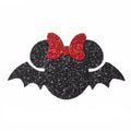 "Black Glitter Mouse with Bow Bat - 2.3"" Felt Applique"